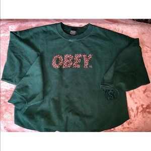 Obey Green and Cheetah Sweatshirt